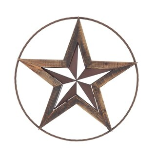 Rustic Wood and Iron Round-Framed Star Wall Art