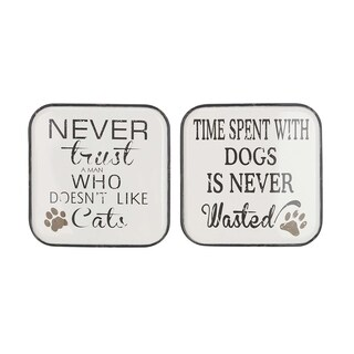Set of 2 Modern Iron Cat and Dog-Inspired Quotes Wall Plaques