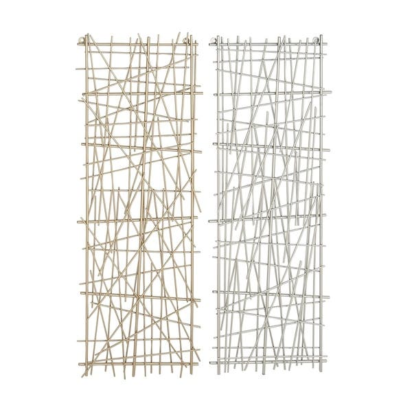 Large Rectangular Gold Silver Crosshatched Abstract