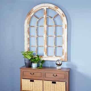 Traditional Arched Whitewashed Wooden Wall Decor