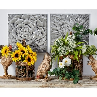 Set of 3 Modern Glazed Floral Iron Wall Decor