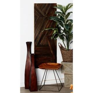 Rustic Dark Teak Wood Geometric-Patterned Wall Panel