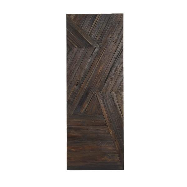 Rustic Dark Teak Wood Geometric Patterned Wall Panel