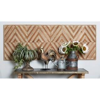Traditional Chevron-Patterned Rectangular Wooden Wall Art
