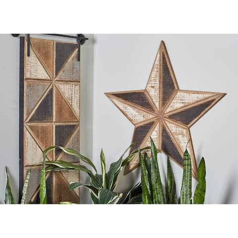 Set of 3 Farmhouse Wooden Brown Wall Stars
