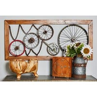 47 X 4 inch Industrial Iron and Teak Wood Gears and Wheel Wall Decor