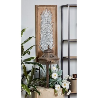 Set of 2 Natural Iron Leaves Framed Wall Panels