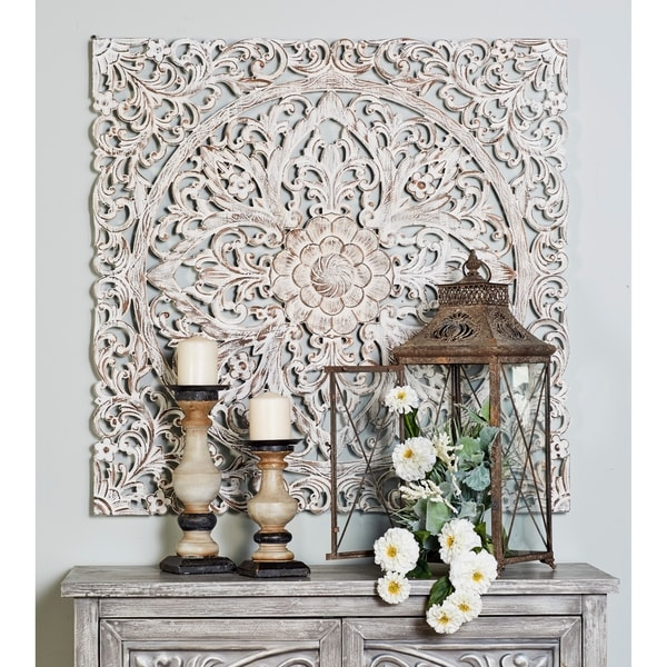 Carved Floral Ivory Medallion Wood Wall Panel by Studio 350