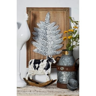 Set of 2 Natural Iron Leaves Wall Plaques