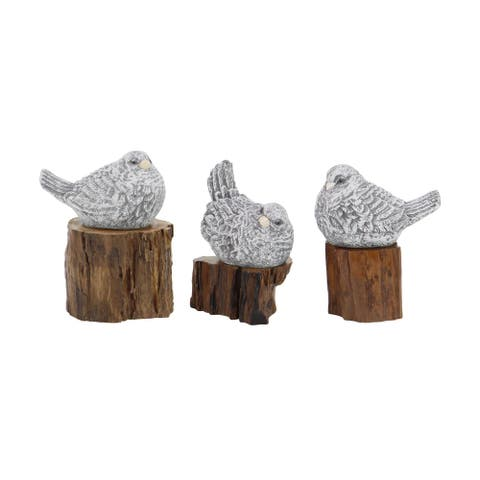 Set of 3 Rustic Teak Wood and Polystone Gray Bird Sculptures