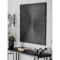 Modern Pine Wood Carved  Radial Style Square Wall Panel Decor
