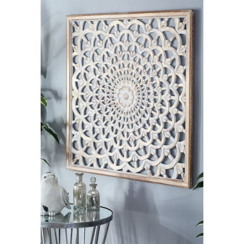 Modern 36 Inch Flower-Inspired Carved Wall Panel Decor by Studio 350