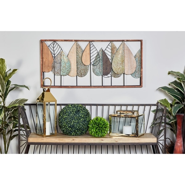 Natural 22 Inch Iron and Wood Stylized Leaf Wall Decor by Studio 350. Opens flyout.