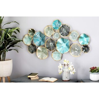 Contemporary Iron Multicolor Floral Disc Montage Wall Decor