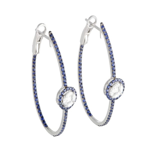 Shop Large White Gold Full Sapphire Pave and Diamond Oval Hoop ... cbe2f8e1d815