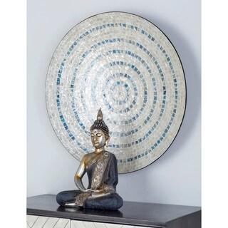 Natural Wood and Shell Round Tan and Black Mosaic Wall Decor