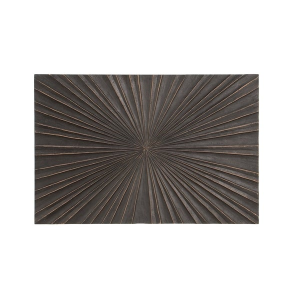 Modern Pine Wood Carved Burst Style Rectangular Wall Panel Decor