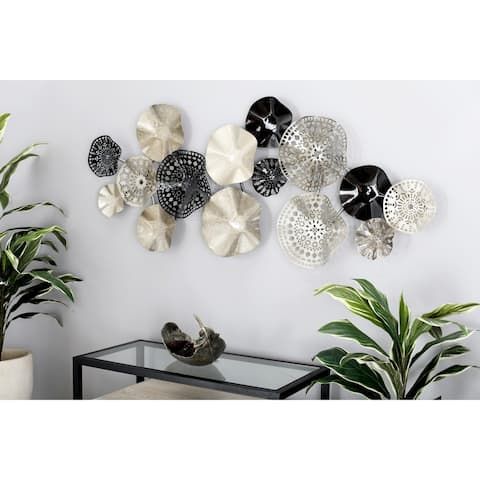 Modern 25 x 59 Inch Iron Floral Disc Montage Wall Decor by Studio 350