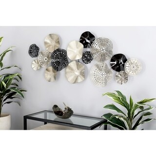 Contemporary Iron Black and Silver Floral Disc Montage Wall Decor