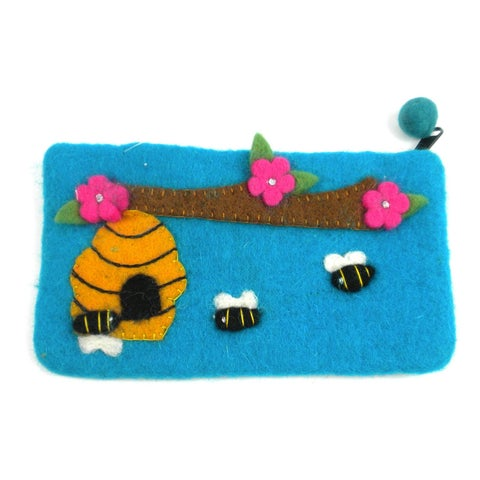 Handmade Blue Bee Felt Clutch (Nepal)