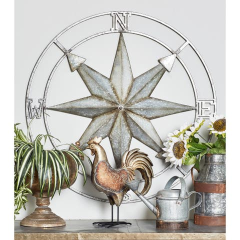 Coastal Iron Compass Art Wall Decor