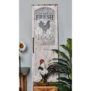 Farmhouse Fresh Eggs Wood and Metal Door Wall Panel