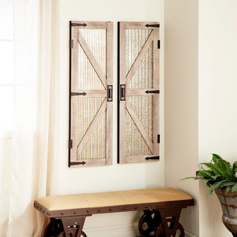 Set of 2 Farmhouse 47 Inch Iron and Wood Barn Doors by Studio 350