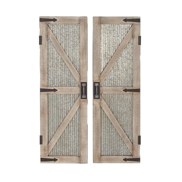 Shop Set Of 2 Farmhouse 47 Inch Iron And Wood Barn Doors By Studio