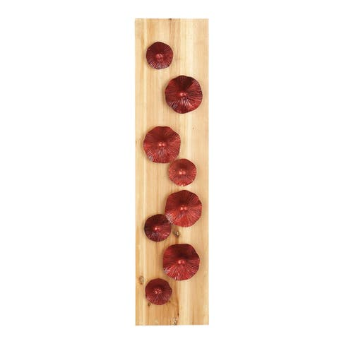 39 X 9 inch Natural Wood and Iron Red Flowers Rectangular Wall Decor