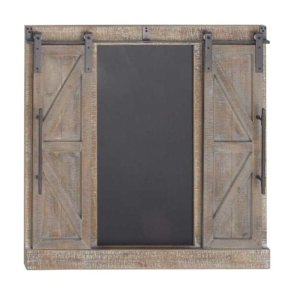 Traditional Wood And Iron Whitewashed Barn Door Wall Decor