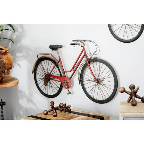 Modern Iron Red Bicycle Wall Decor