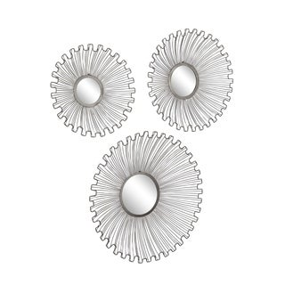 Set of 3 Modern Tin and Glass Round Black Sunburst Wall Mirrors