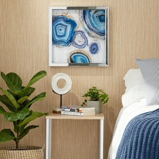 Set of 3 Modern Polystone and Wood Framed Agate Stones Wall Decor