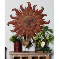 Traditional Red Celestial Sun Iron Wall Decor