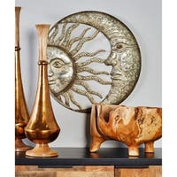 Contemporary Iron Celestial Sun and Moon Wall Decor