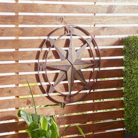 Traditional Iron and Fir Wood Compass Wall Decor
