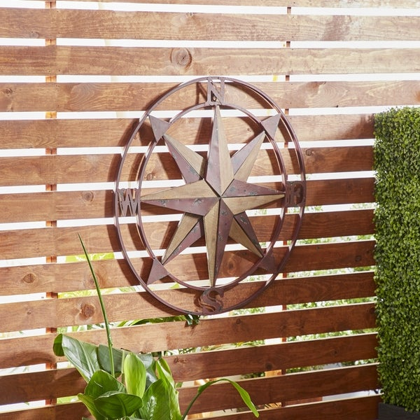Traditional Iron and Fir Wood Compass Wall Decor. Opens flyout.