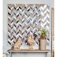 36 X 36 Inch Traditional Chevron-Patterned Wooden Mirrored Wall Art - Brown