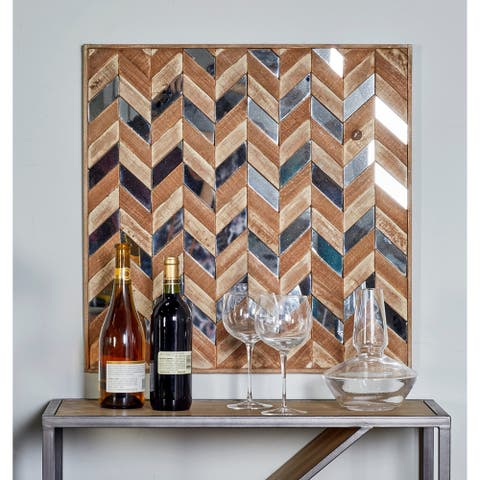 Traditional Chevron-Patterned Square Wooden Wall Art