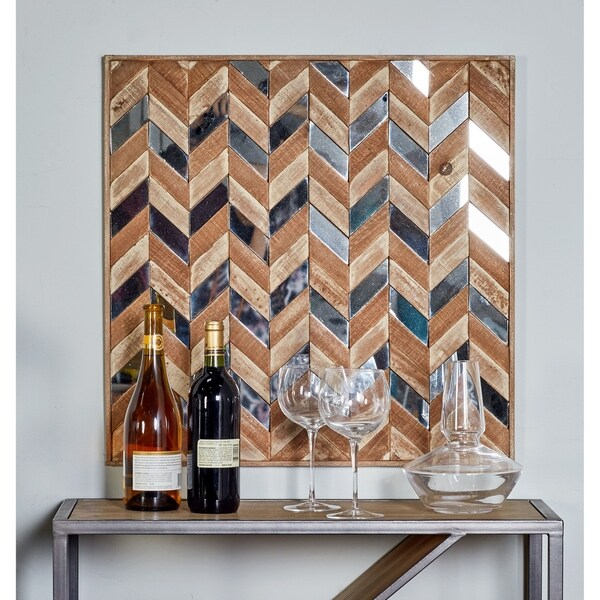 Traditional Chevron Patterned Square Wooden Wall Art