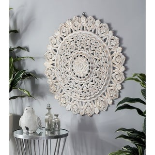 Modern Pine Wood Floral-Inspired Round Wall Panel Decor