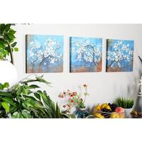 Set of 3 Rustic Canvas and Wood Painted Cherry Blossoms Wall Art