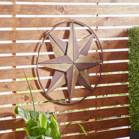 Rustic Wood and Iron Round-Framed 8-Point Star Wall Decor