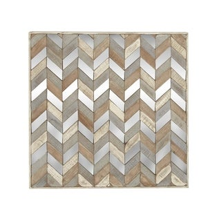 24 X 24 inch Traditional Chevron-Patterned Mirrored Wall Art