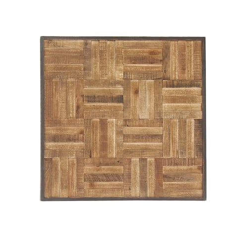 Rustic Parallel-Patterned Fir Wood Wall Plaque