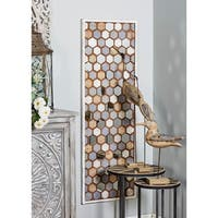 Contemporary Wooden Honeycomb Mirror Wall Decor by Studio 350