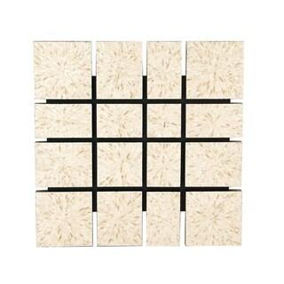 Natural Wood and Shell Square Paneled Wall decor