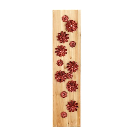 39 X 9 inch Natural Wood and Iron Red Petaled Flowers Wall Decor