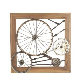 24 X 4 inch Industrial Iron and Teak Wood Gears and Wheel Wall Decor