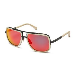Dita Mach One DRX-2030K Mens Matte Bone Black Frame Dark Grey Red Mirror Lens Sunglasses